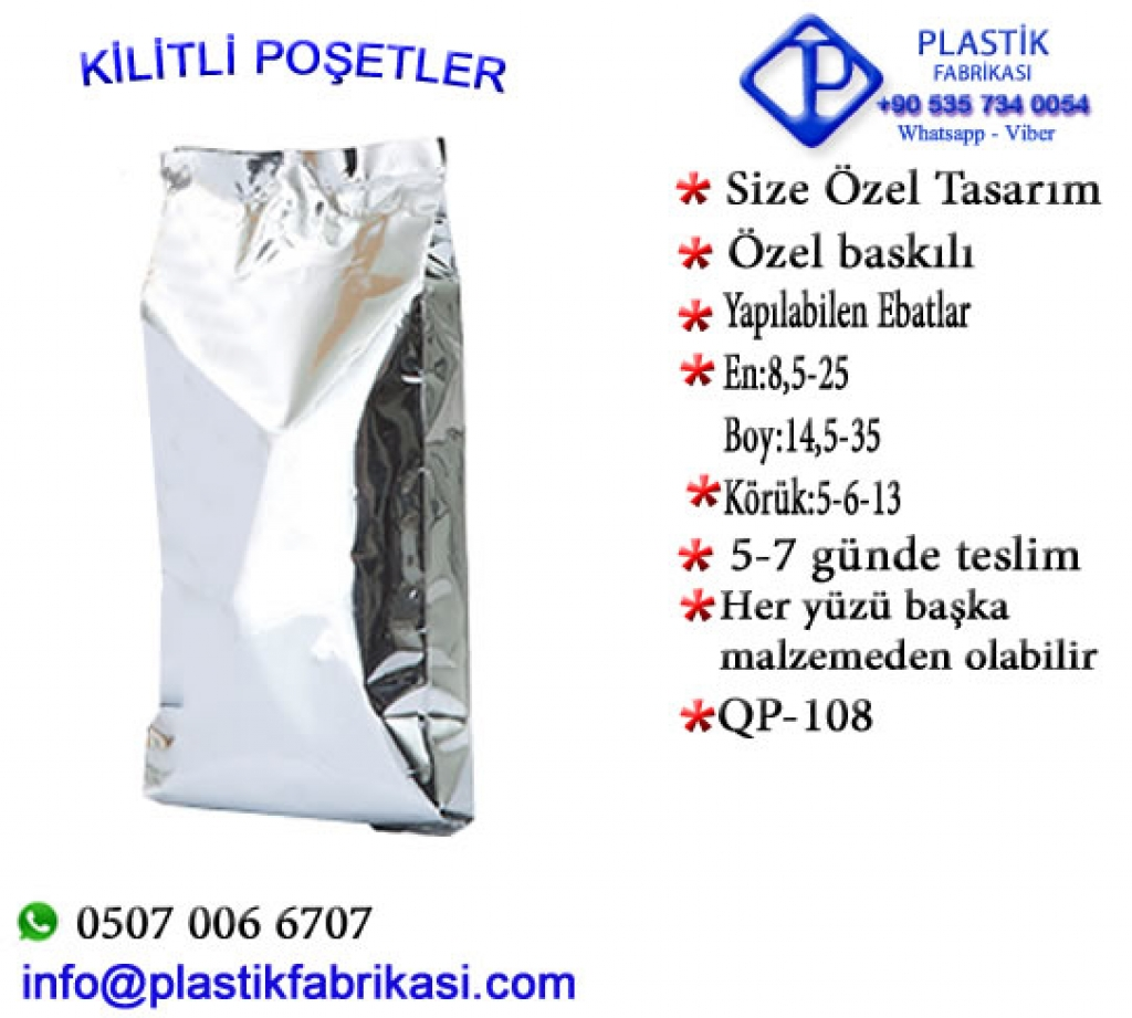 Quadro poşet imalatı yapılır. QP-108 Plastik Poşet Asetat PP Pvc Pet Şeffaf Sızdırmaz Kap