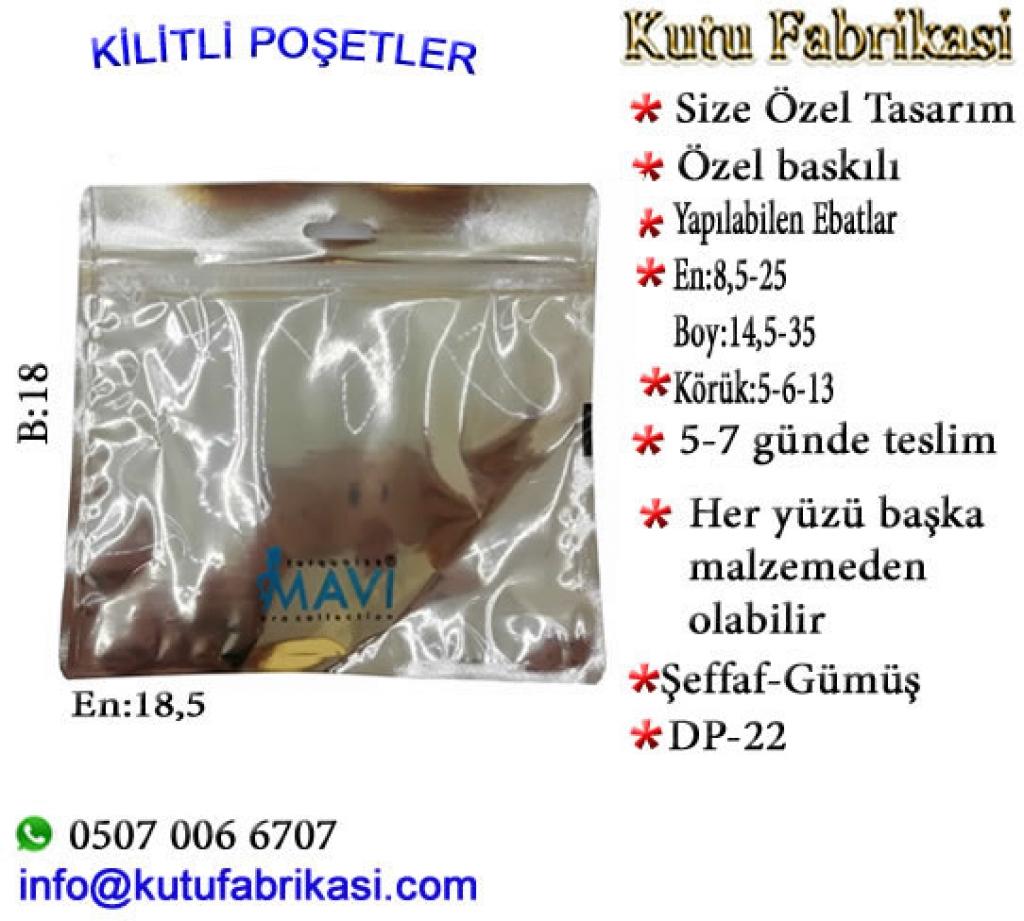 Logolu Doypak poşet imalatı yapılır. 18x18,5 DP-22 Plastik Poşet Asetat PP Pvc Pet Şeffaf Sızdırmaz Kap