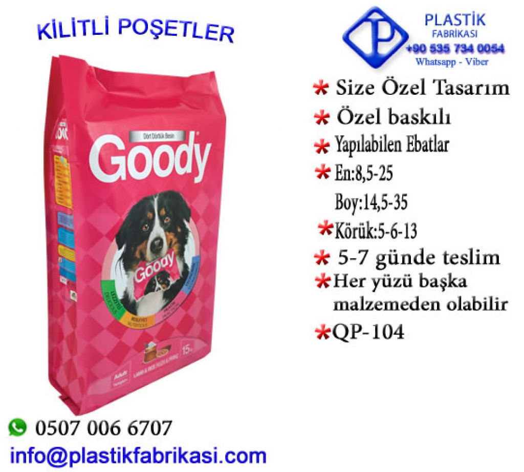Quadro poşet imalatı yapılır. QP-104 Plastik Poşet Asetat PP Pvc Pet Şeffaf Sızdırmaz Kap