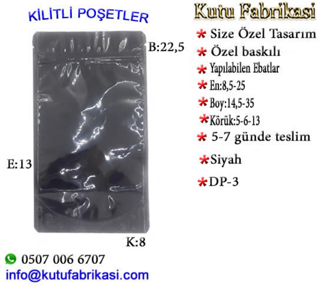 Doypak kilitli poşet Gold/Gold 22,5x13x8 cm DP-3 Plastik Poşet Asetat PP Pvc Pet Şeffaf Sızdırmaz Kap